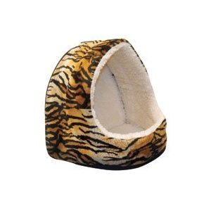 Hooded Cat Nap Bed - Animal Fur - Tiger - 14 in. Base