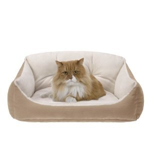 JLA Pets Low-Border Tufted Cuddler 24 by 18-Inch Cat Bed, Buttercup