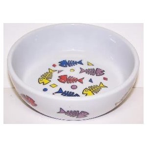 Vo-toys Ceramic Cat Dish With Fish Skeltons